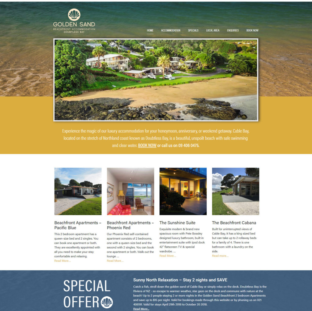 doubtless bay accommodation website design