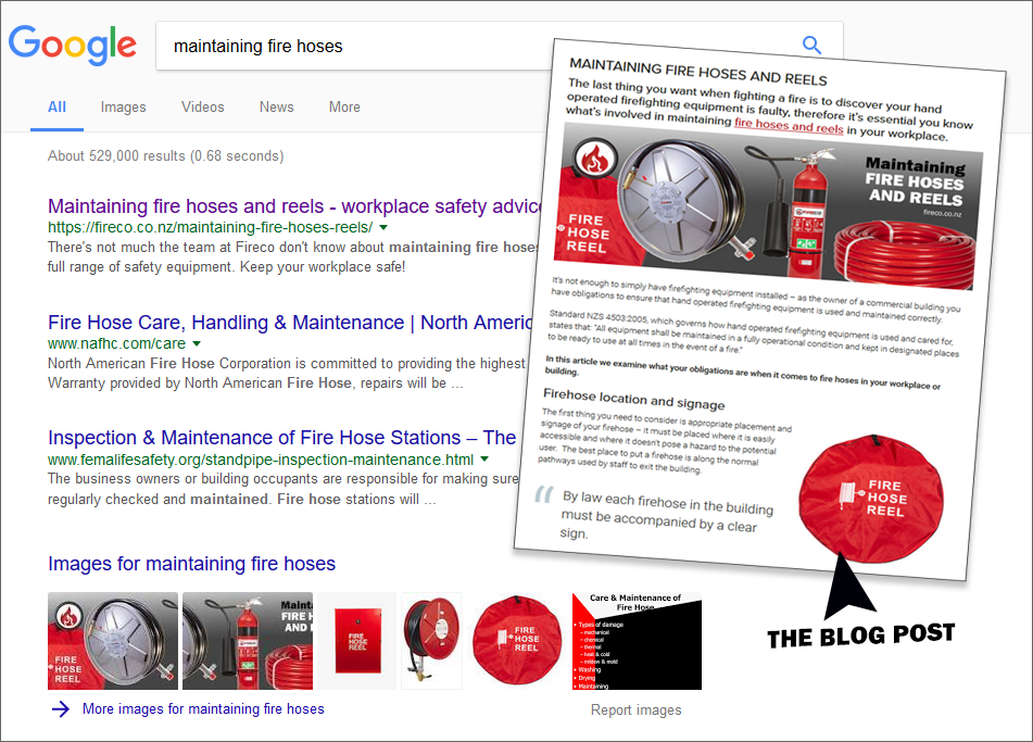 Fireco blog posts and google results