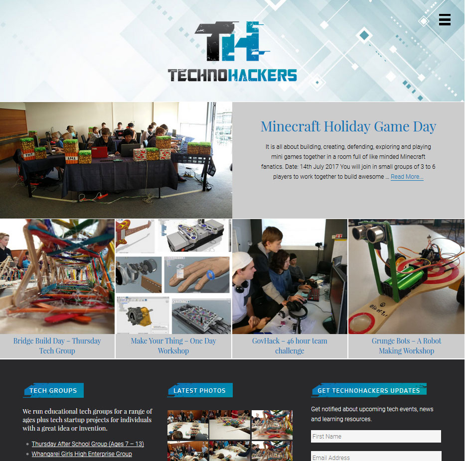 Technohackers website designed Creative Web Ideas in Whangarei