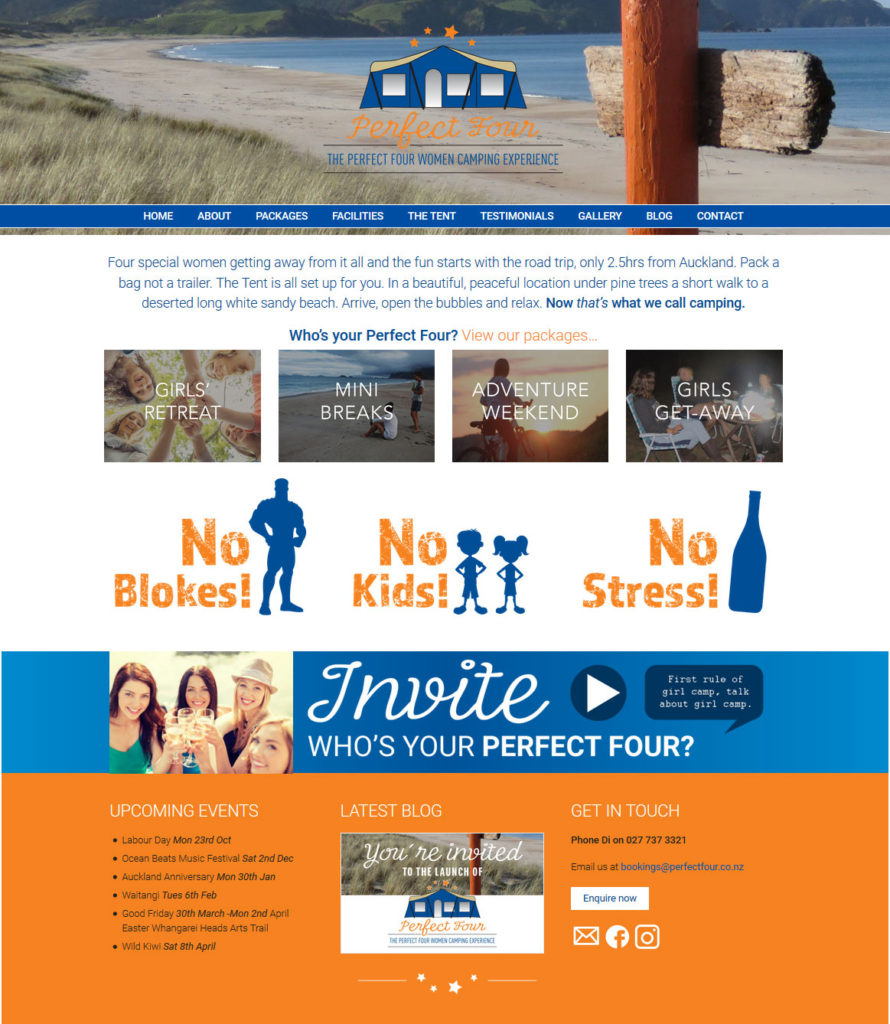 fun website design for Perfect Four