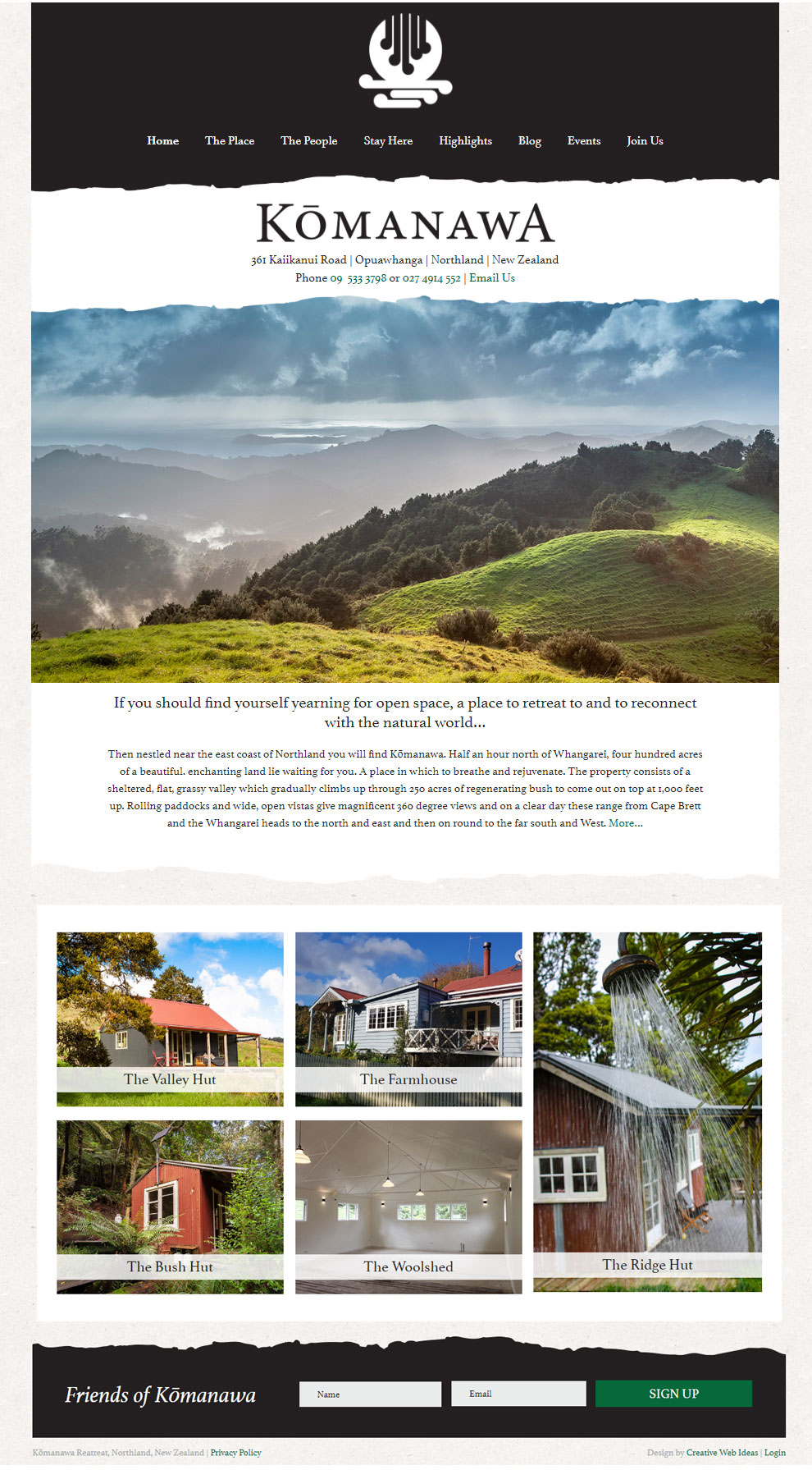 Komanawa Retreat Website