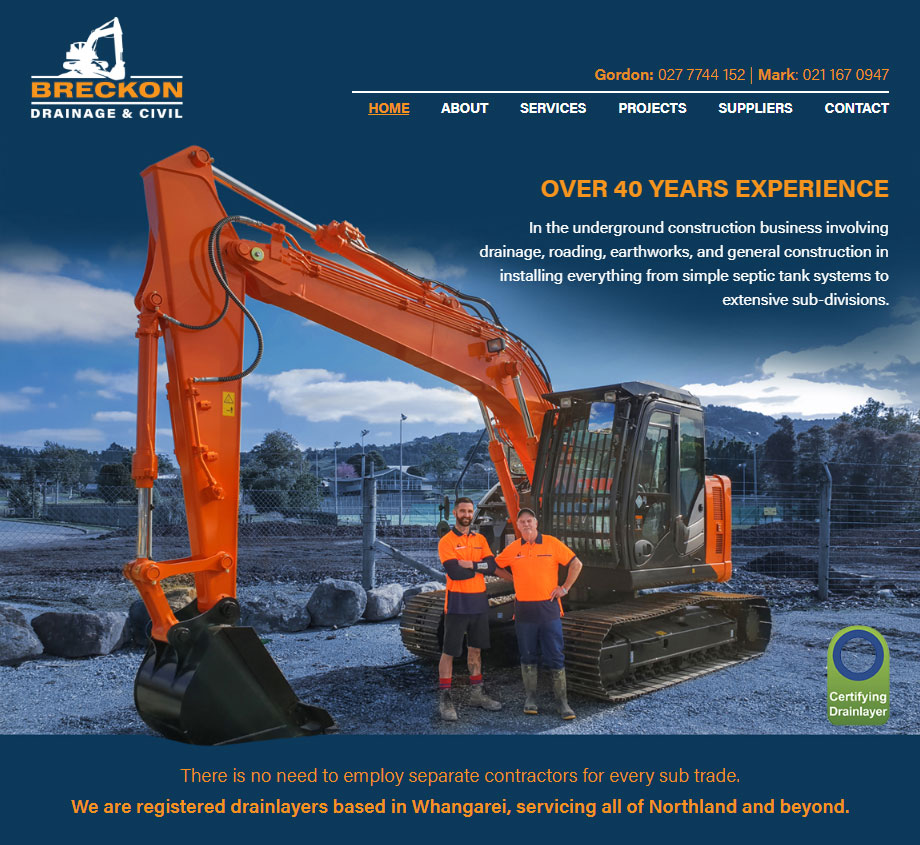 Breckon Drainage website design